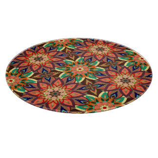 Floral mandala abstract pattern design cutting board