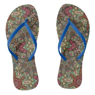 Floral mandala abstract pattern design flip flops