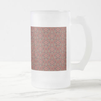 Floral mandala abstract pattern design frosted glass beer mug