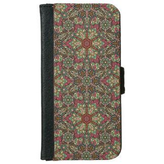 Floral mandala abstract pattern design iPhone 6 wallet case