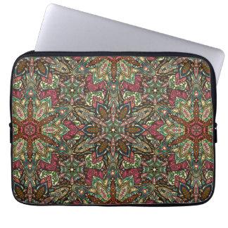 Floral mandala abstract pattern design laptop sleeve