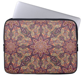 Floral mandala abstract pattern design laptop sleeve