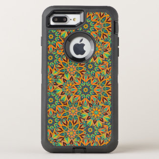 Floral mandala abstract pattern design OtterBox defender iPhone 7 plus case