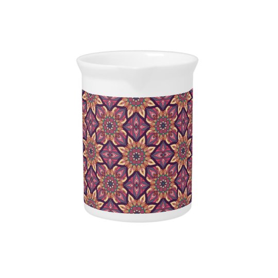 Floral mandala abstract pattern design pitcher