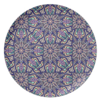 Floral mandala abstract pattern design plate