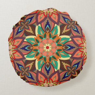 Floral mandala abstract pattern design round pillow