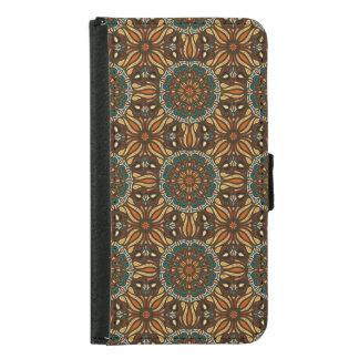 Floral mandala abstract pattern design samsung galaxy s5 wallet case