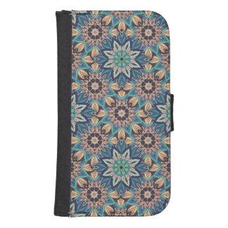 Floral mandala abstract pattern design samsung s4 wallet case