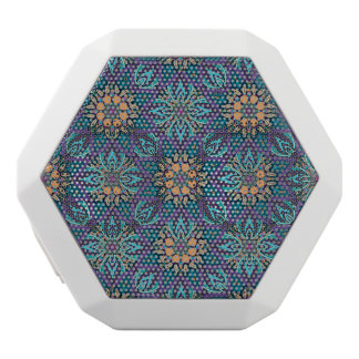 Floral mandala abstract pattern white bluetooth speaker