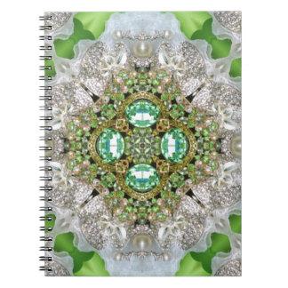 Floral mandala bling emerald green rhinestone notebooks