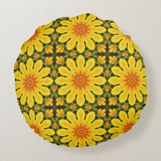 Floral mandala, Californian poppies Round Pillow