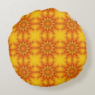 Floral mandala, Californian poppies Round Pillow