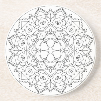 Floral Mandala Line Art 060517_1 Coaster