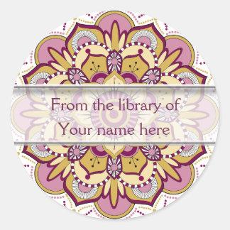 Floral Mandala Personalized Bookplates Round Sticker