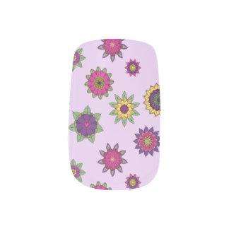 Floral Mandala Purple Nail Wraps