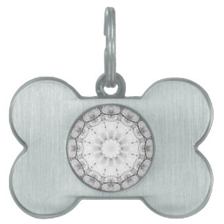 Floral mandala-style, blossoms light gray / grey pet name tags