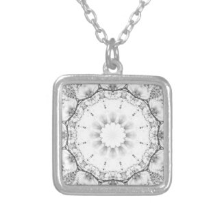Floral mandala-style, blossoms light gray / grey silver plated necklace