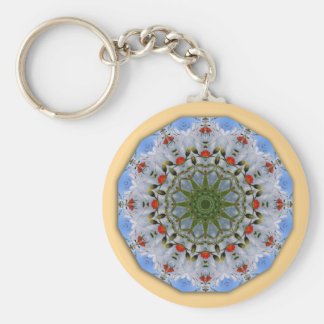 Floral mandala-style, Red Poppies Basic Round Button Keychain