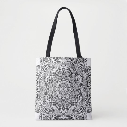 Floral Mandala Yoga Black and White Colouring Tote Bag
