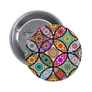 Floral mandalas creative circles art pattern 2 inch round button