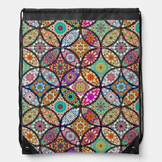 Floral mandalas creative circles art pattern drawstring bag
