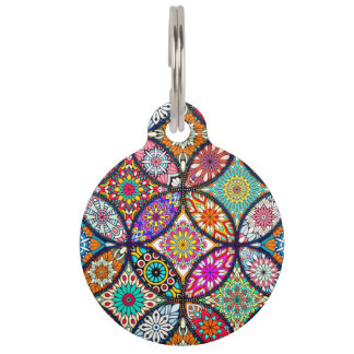 Floral mandalas creative circles art pattern pet tags