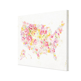 Floral Map Of The USA Canvas Print