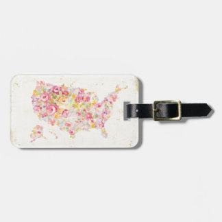 Floral Map Of The USA Luggage Tag