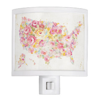 Floral Map Of The USA Nite Light