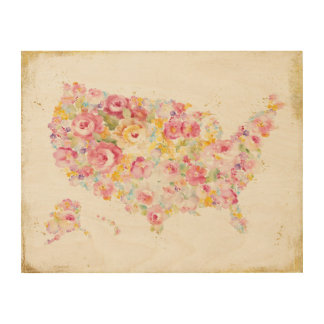 Floral Map Of The USA Wood Canvases