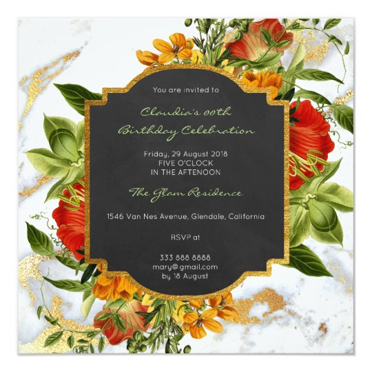 Floral Marble Spring Baroque Birthday Gold Card