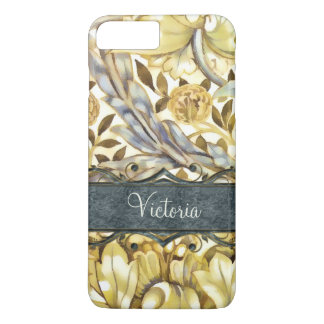 Floral Marigold Gold and Grey Vintage Custom iPhone 7 Plus Case