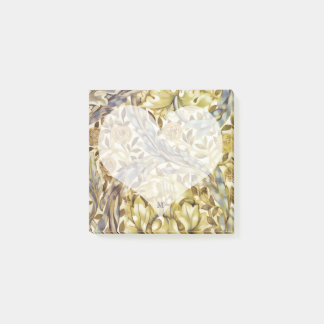 Floral Marigold Gold and Grey Vintage Heart Post-it Notes