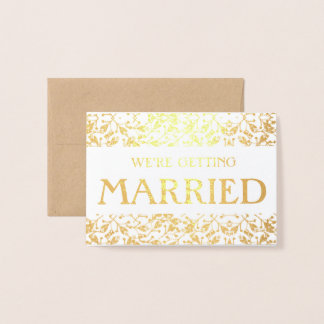 Floral marriage announcement Gold Foil Card