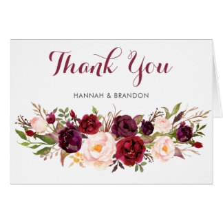 Floral Marsala Boho Burgundy Thank You Card