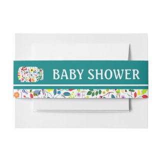 Floral Mason Jar Baby Shower Invitation Belly Band