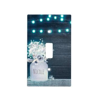 Floral Mason Jar & Blue String Lights Rustic Light Switch Cover