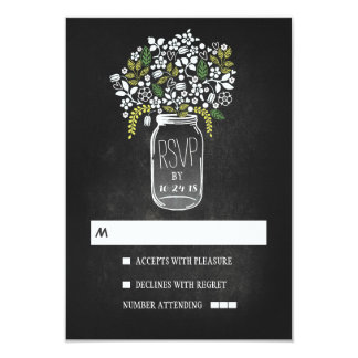 Floral mason jar chalkboard wedding RSVP Invites