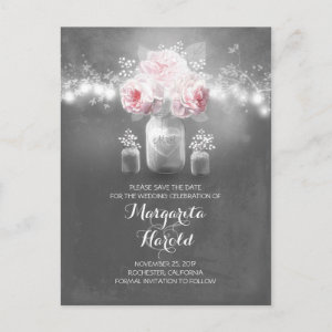 Floral mason jar lights rustic save the date announcement postcard