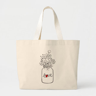 Floral Mason Jar Red Heart Love Flowers Large Tote Bag