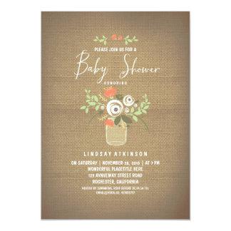 Floral Mason Jar Rustic Burlap Baby Shower Card