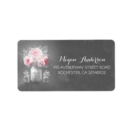 Floral Mason Jar Rustic Chalkboard Wedding