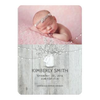 Floral Mason Jar Rustic Newborn Baby Photo Birth Card