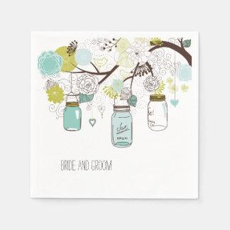 Floral Mason Jars Paper Napkins