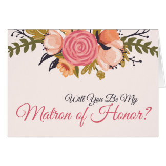 Floral Matron of Honor Request Card