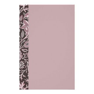 Floral Mauve and Chocolate Stationery