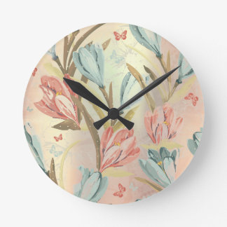 Floral Meadow Iris Pearly Blue Ivory Brown Clocks