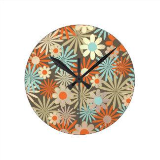Floral Meadow Margarita Blue Ivory Brown Clocks