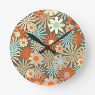 Floral Meadow Margarita Blue Ivory Brown Round Clock