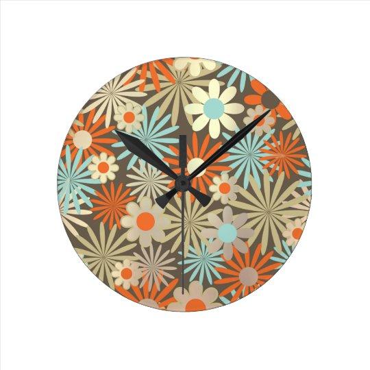 Floral Meadow Margarita Blue Ivory Brown Round Clock